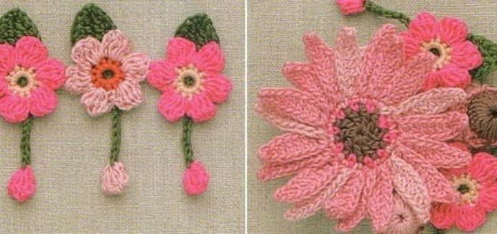 Миниатюрные цветочки крючком. Схемы