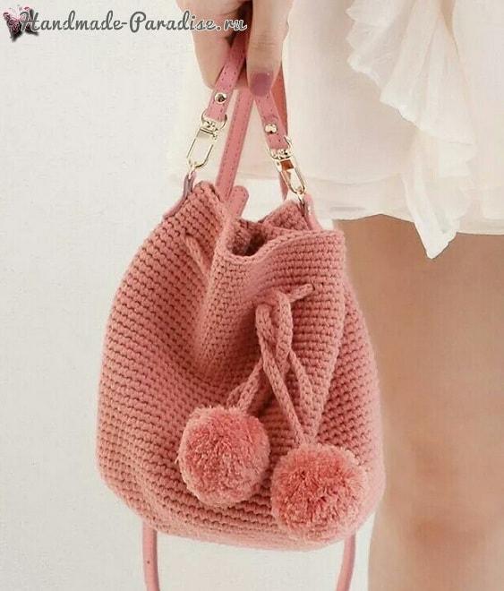 Модная сумка-ведро крючком (2)