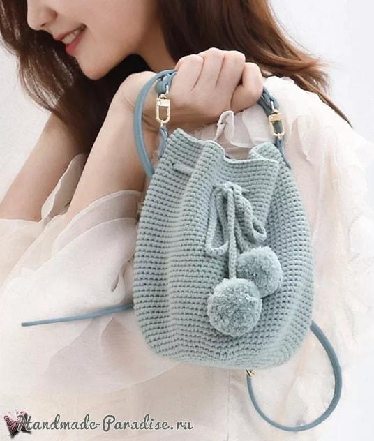 Модная сумка-ведро крючком (3)
