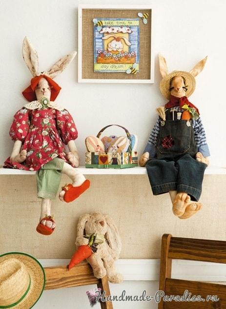 Текстильные зайцы - шитье кофейных игрушек (1)
