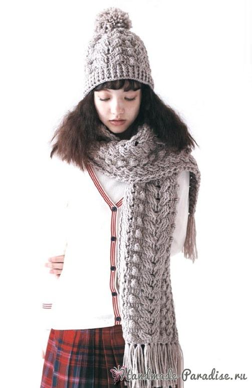 Зимняя шапочка с шарфиком крючком (1)