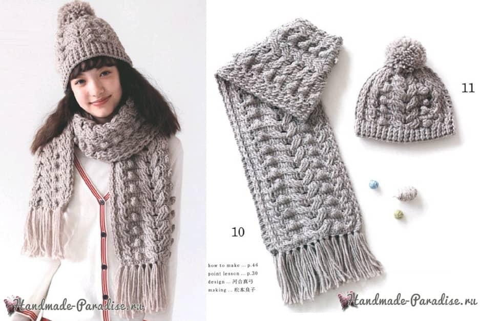 Зимняя шапочка с шарфиком крючком (2)