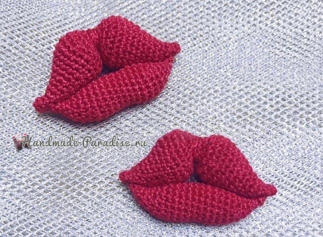 Брошь «Красные губы» крючком (1)