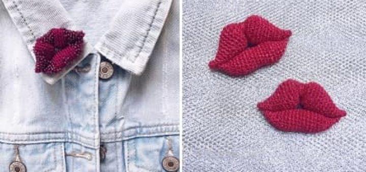 Брошь «Красные губы» крючком (4)