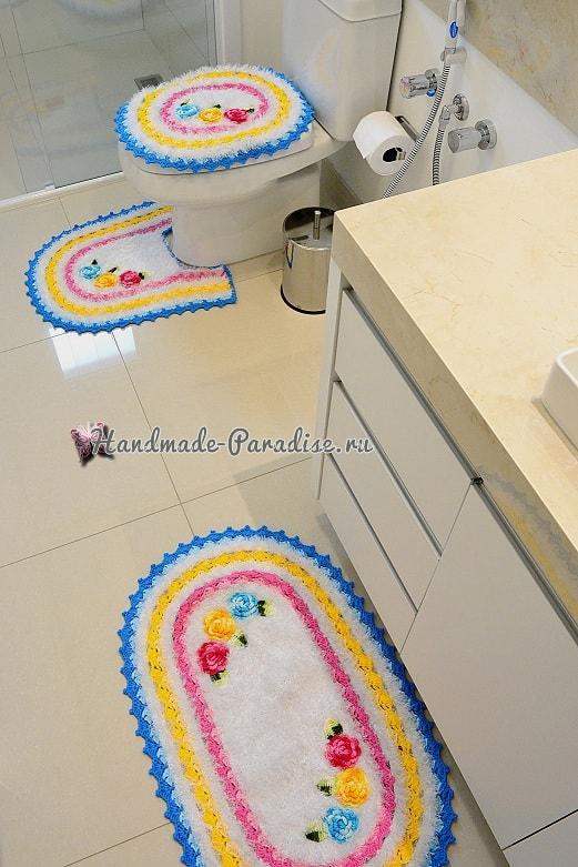 Комплект ковриков «Цветочное суфле на сливках» крючком (3)