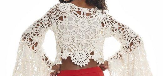 Нарядная блуза крючком из больших мотивов (3)