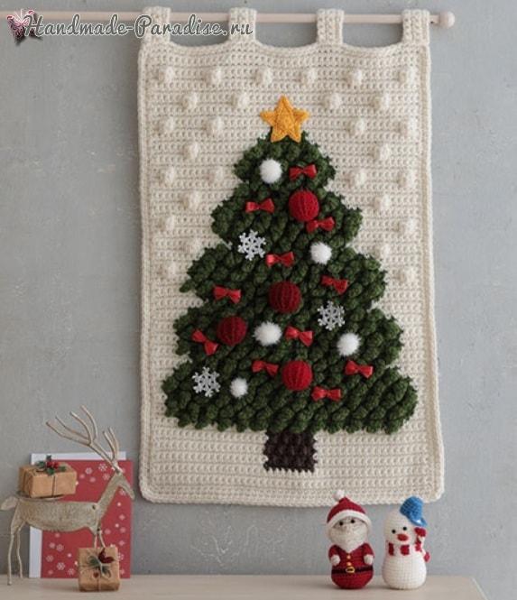 Панно с елочкой, снеговик и Санта-Клаус крючком (1)
