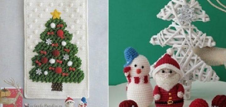 Панно с елочкой, снеговик и Санта-Клаус крючком (2)