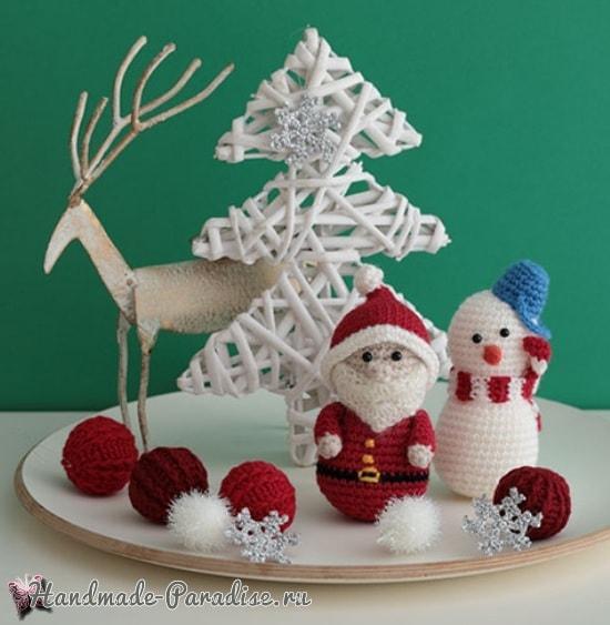 Панно с елочкой, снеговик и Санта-Клаус крючком (3)