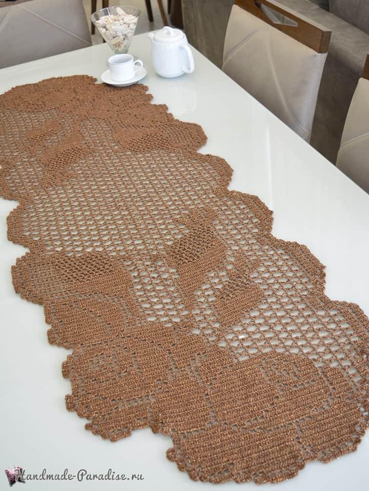 Стильная салфетка крючком из пряжи с люрексом (2)