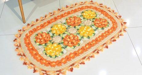 Восточный цветочный коврик крючком (1)