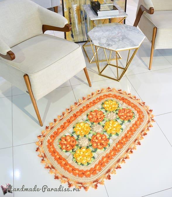 Восточный цветочный коврик крючком (2)