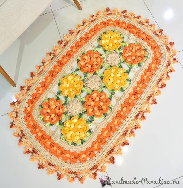 Восточный цветочный коврик крючком (3)