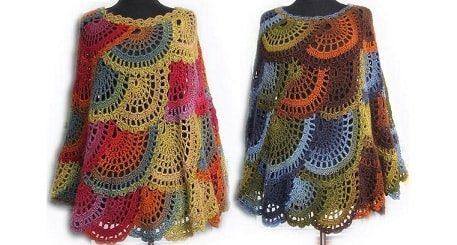 Вязаное крючком разноцветное пончо в стиле бохо (1)