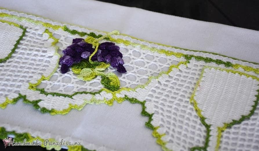 Вязаный виноград для декорирования полотенца (1)