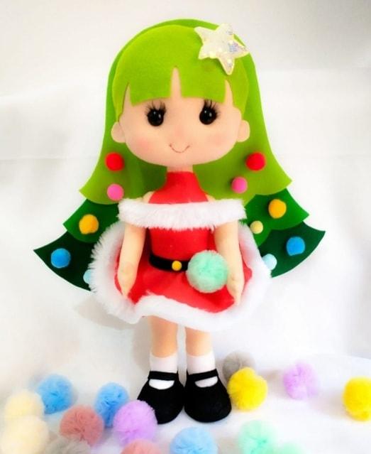 Куколка «Новогодняя елочка» из фетра