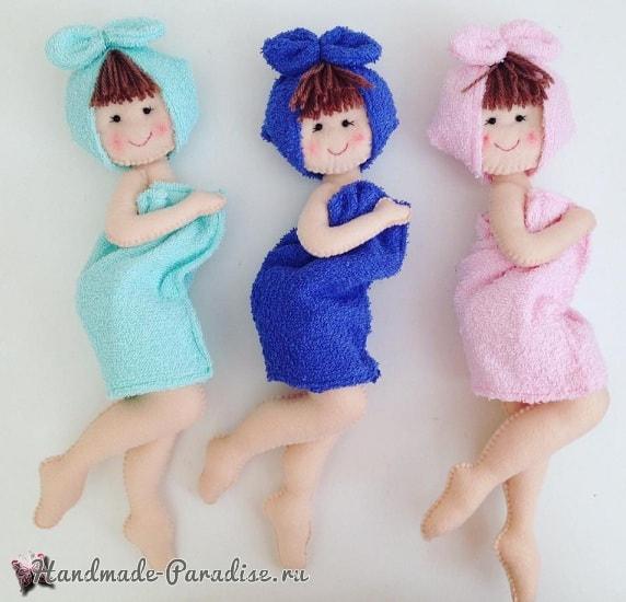 Куколки из фетра для декора в ванную комнату