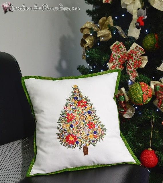 Подушка с вышивкой «Новогодняя елка» (1)