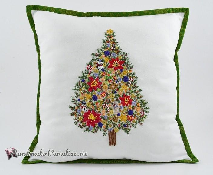 Подушка с вышивкой «Новогодняя елка» (3)
