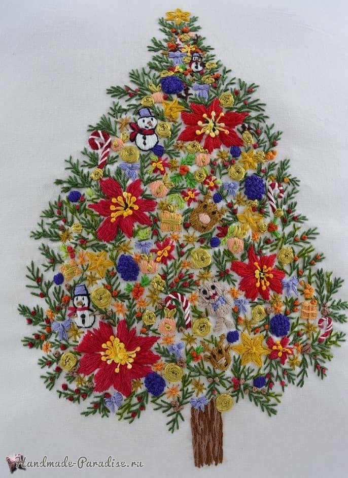 Подушка с вышивкой «Новогодняя елка» (4)