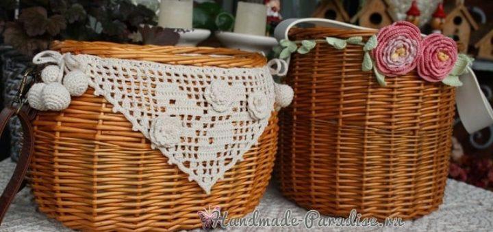 Роза и пион крючком для декорирования корзинки (1)