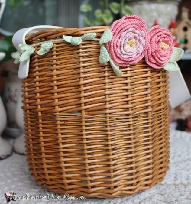 Роза и пион крючком для декорирования корзинки (2)