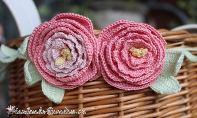 Роза и пион крючком для декорирования корзинки (3)