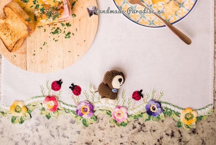 Щенок амигуруми для украшения полотенца (1)