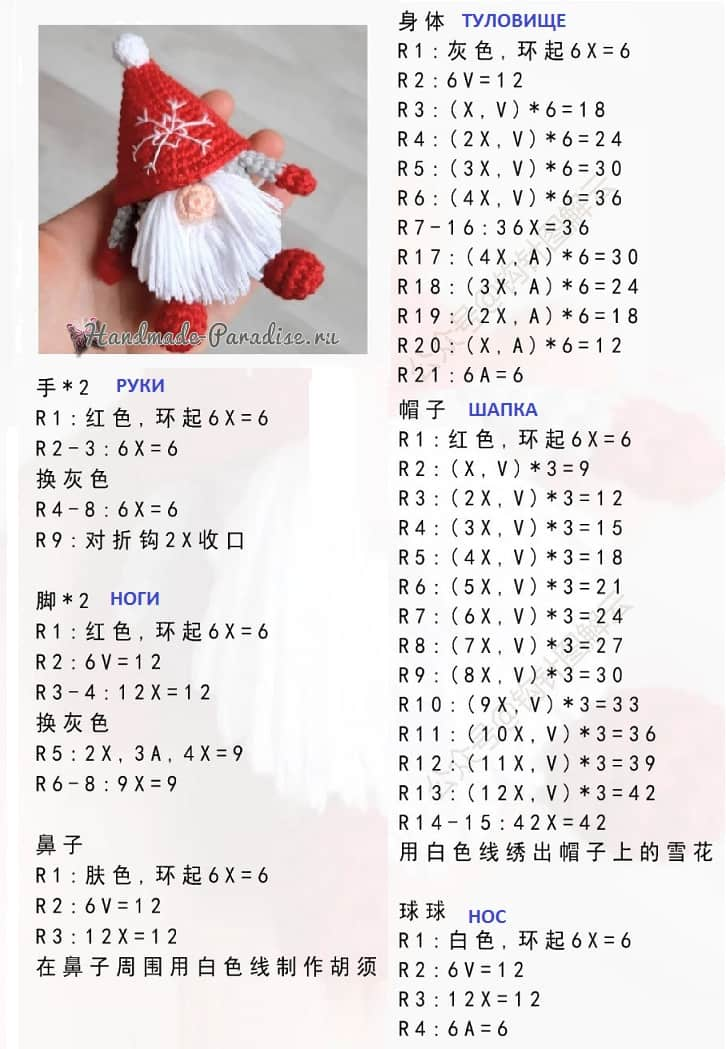 Санта-Клаус крючком. Вязание игрушки амигуруми (1)