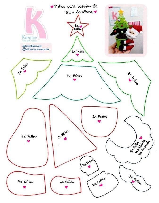 Санта-Клаус с елочкой из фетра (2)