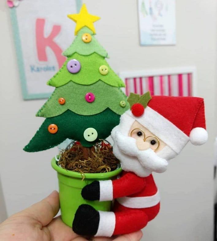 Санта-Клаус с елочкой из фетра (3)