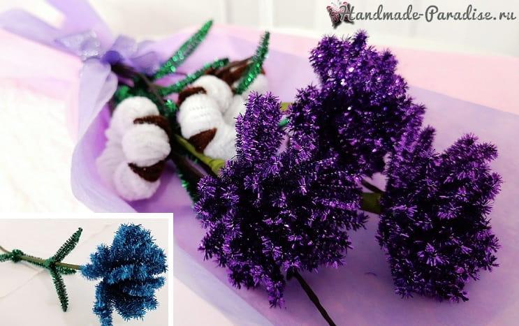 Букет гвоздик из блестящей синельной проволоки (2)