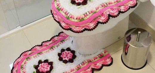 Комплект ковриков «Розовая нежность» крючком для ванной (2)