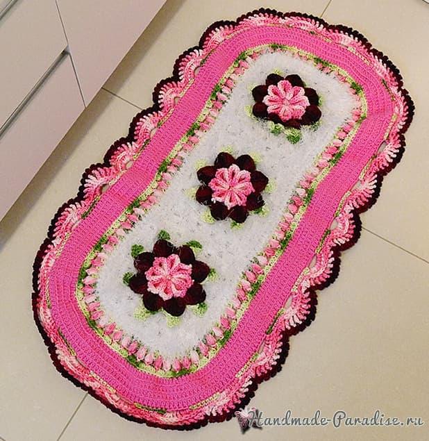 Комплект ковриков «Розовая нежность» крючком для ванной (3)