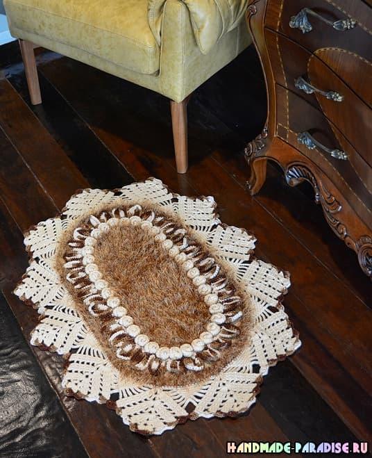 Очень красивый коврик «Каравелла» крючком (3)