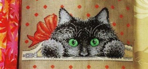 Кот на сумке - схемы вышивки крестом (2)