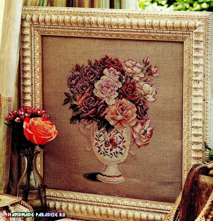 Схемы вышивки «Букет роз в вазе» (1)