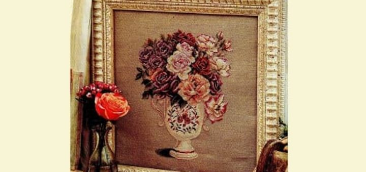 Схемы вышивки «Букет роз в вазе» (2)