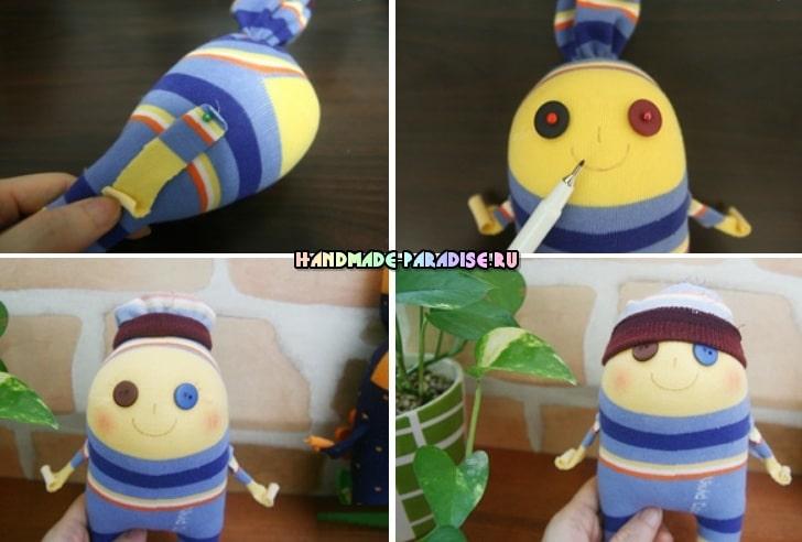 Забавные куколки из носков. Мастер-класс (7)