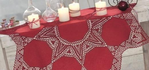 Красная праздничная скатерть крючком