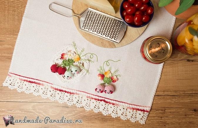 Вишенки крючком для украшения полотенца (2)