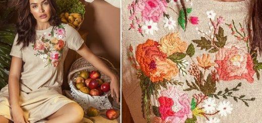 Вышивка гладью для украшения платья