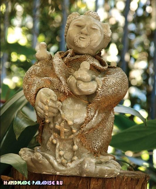 Декор мешковиной гипсовой статуэтки (1)