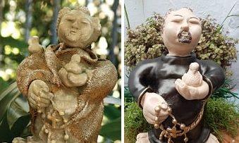Декор мешковиной гипсовой статуэтки (2)