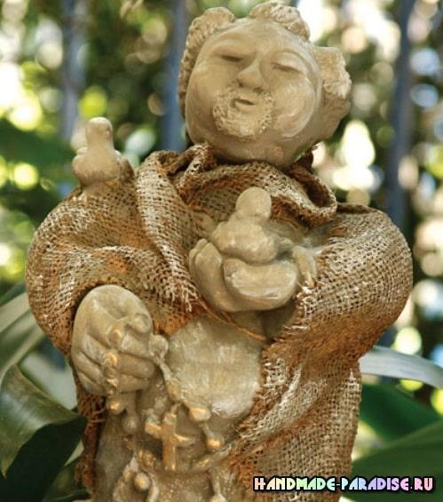 Декор мешковиной гипсовой статуэтки (3)