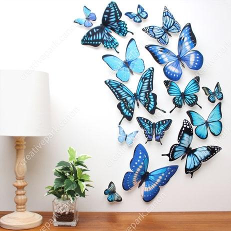 Бабочки 3D - настенные наклейки. Шаблоны