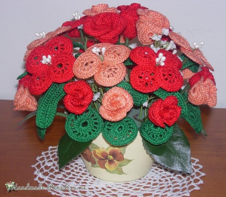 Букет цветов крючком - схемы вязания (1)