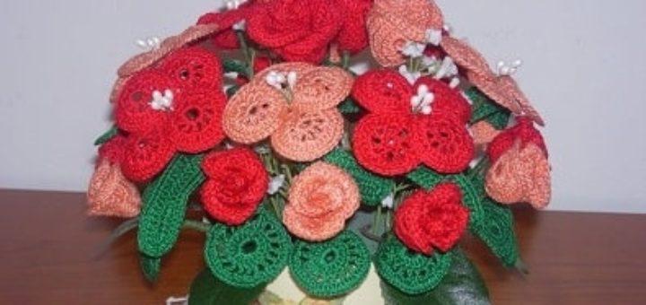 Букет цветов крючком - схемы вязания (2)