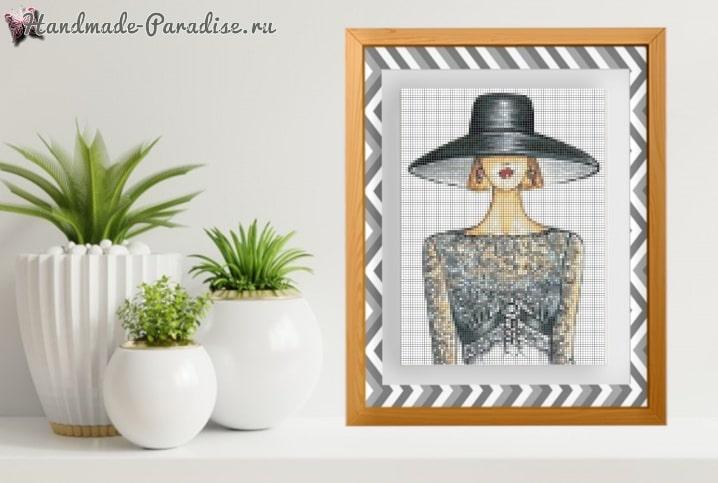 Дама в шляпке - схемы вышивки крестом