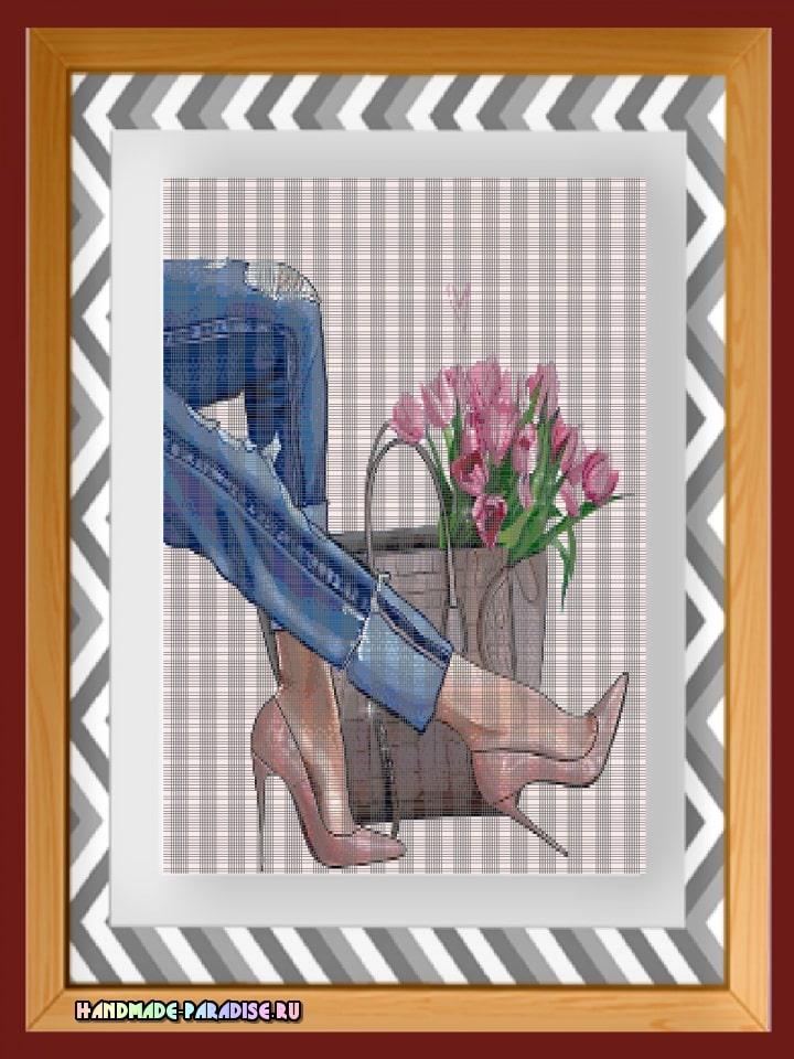 Джинсы и тюльпаны. Схемы вышивки крестом (1)